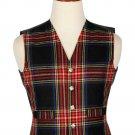 38 Inches Chest New Handmade Traditional Scottish 5 Buttons Tartan Waistcoat Black Steward