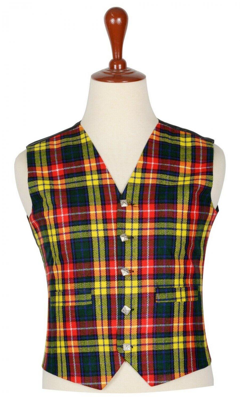 30 Inches Chest New Handmade Traditional Scottish 5 Buttons Tartan Waistcoat Buchanan