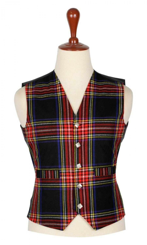 56 Inches Chest New Handmade Traditional Scottish 5 Buttons Tartan Waistcoat Black Steward