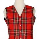 38 Inches Chest New Handmade Traditional Scottish 5 Buttons Tartan Waistcoat Royal Stewart