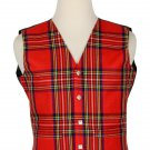 44 Inches Chest New Handmade Traditional Scottish 5 Buttons Tartan Waistcoat Royal Stewart