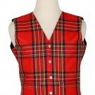 56 Inches Chest New Handmade Traditional Scottish 5 Buttons Tartan Waistcoat Royal Stewart