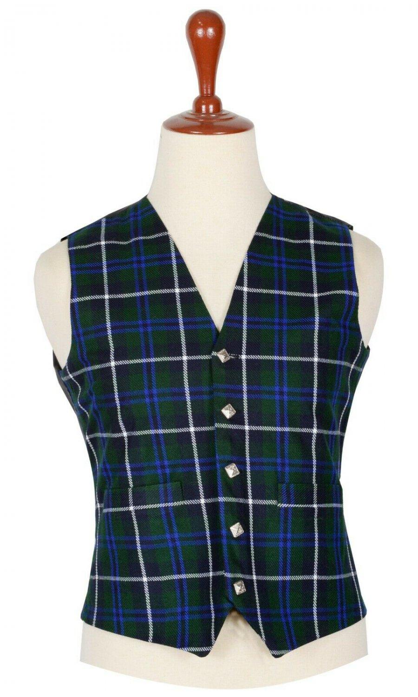 38 Inches Chest New Handmade Traditional Scottish 5 Buttons Tartan Waistcoat Blue Douglas