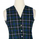 54 Inches Chest New Handmade Traditional Scottish 5 Buttons Tartan Waistcoat Blue Douglas