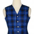 46 Inches Chest New Handmade Traditional Scottish 5 Buttons Tartan Waistcoat Ramsey Blue