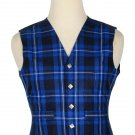 56 Inches Chest New Handmade Traditional Scottish 5 Buttons Tartan Waistcoat Ramsey Blue