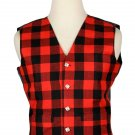 44 Inches Chest New Handmade Traditional Scottish 5 Buttons Tartan Waistcoat Buffalo