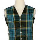 54 Inches Chest New Handmade Traditional Scottish 5 Buttons Tartan Waistcoat Anderson