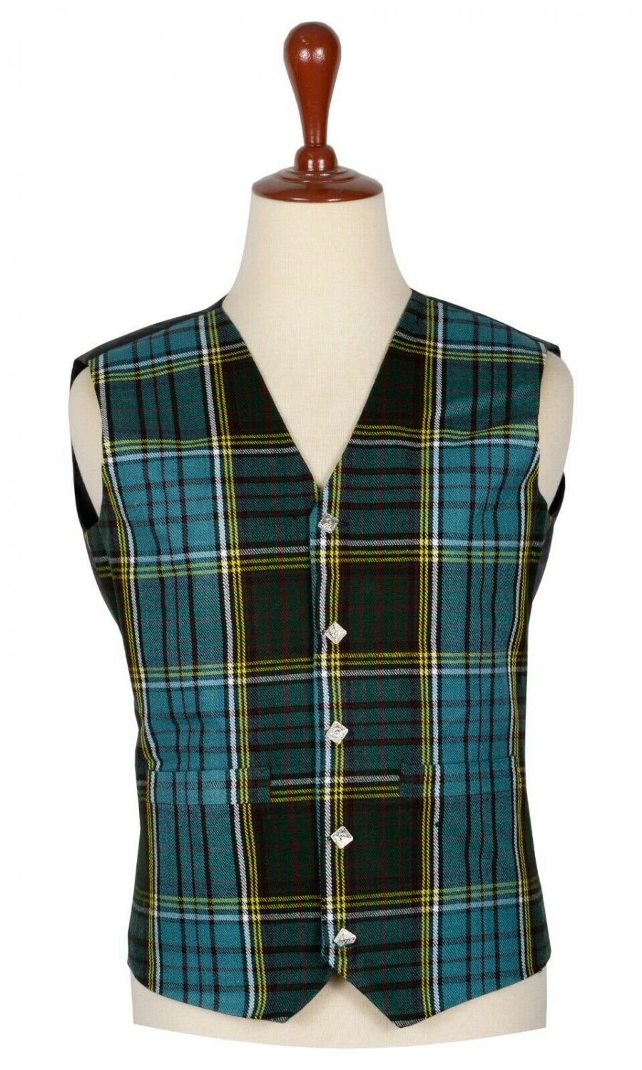 56 Inches Chest New Handmade Traditional Scottish 5 Buttons Tartan Waistcoat Anderson