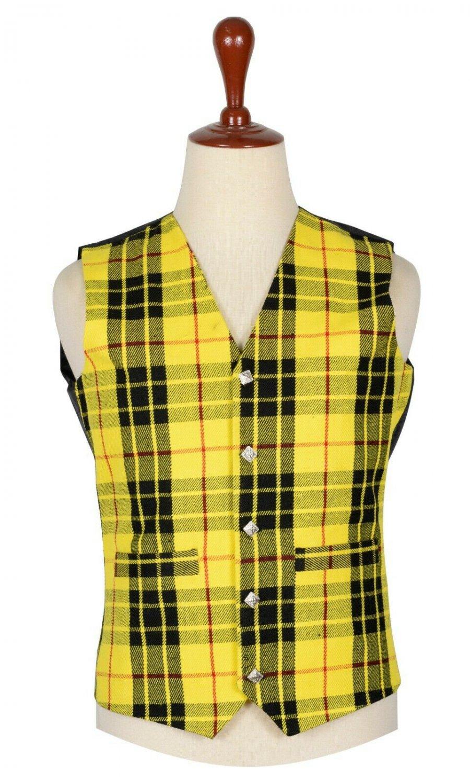 30 Inches Chest New Handmade Traditional Scottish 5 Buttons Tartan Waistcoat Macleod