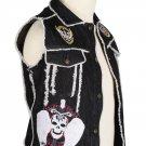36 Inches Chest - Black Denim Fringed Patch Work Punk-Rock Gothic Vest for Men