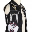 38 Inches Chest - Black Denim Fringed Patch Work Punk-Rock Gothic Vest for Men
