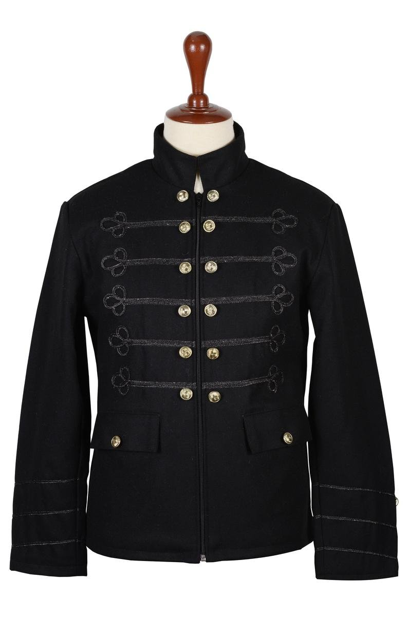 40 Inches Chest Black Wool Napoleon Style Renaissance Military Zipper Jacket For Men