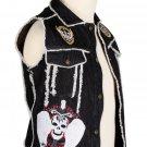 44 inches chest Black Denim Fringed Patch Work Punk-Rock Gothic Vest for Men