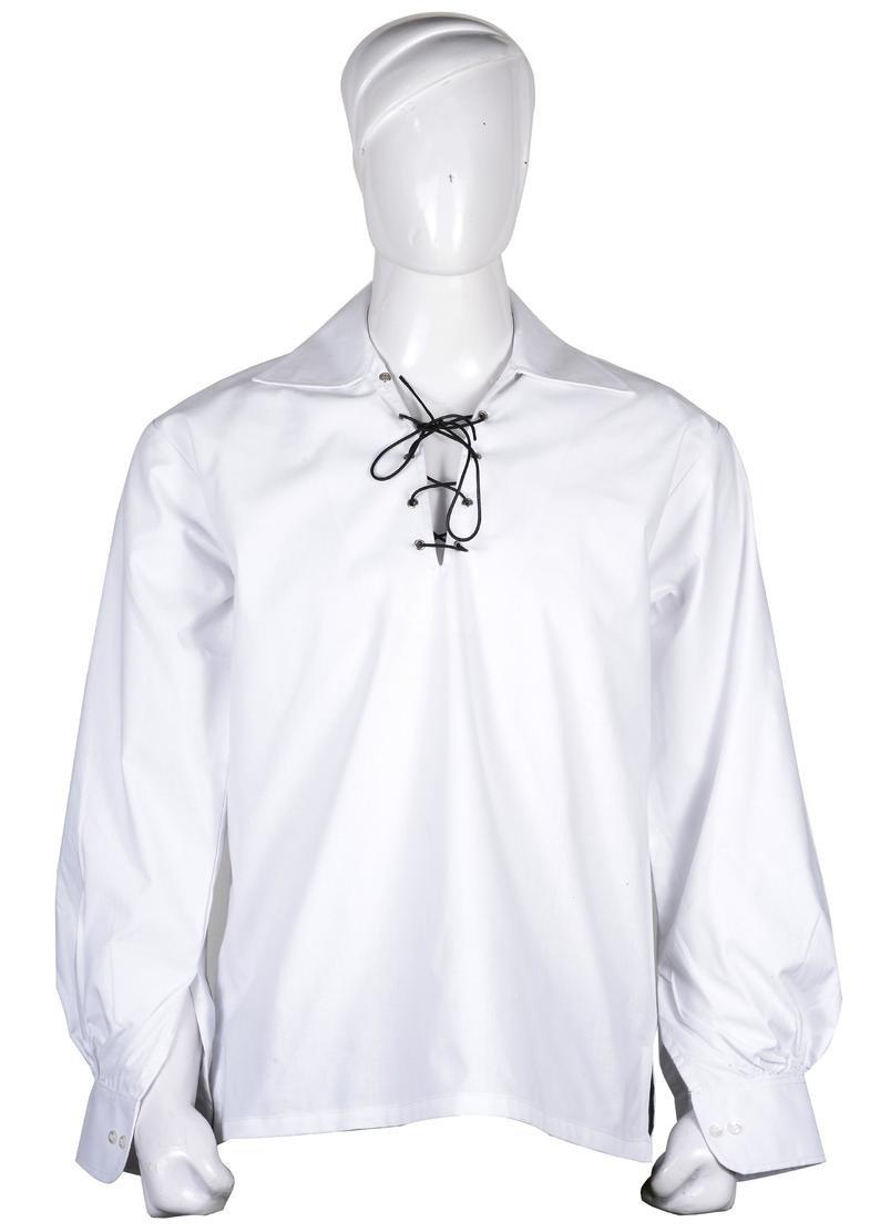 White 4XL Size Hand Made 100% Cotton Traditional Scottish Style Jacobean Jacobite Ghillie Kilt Shirt