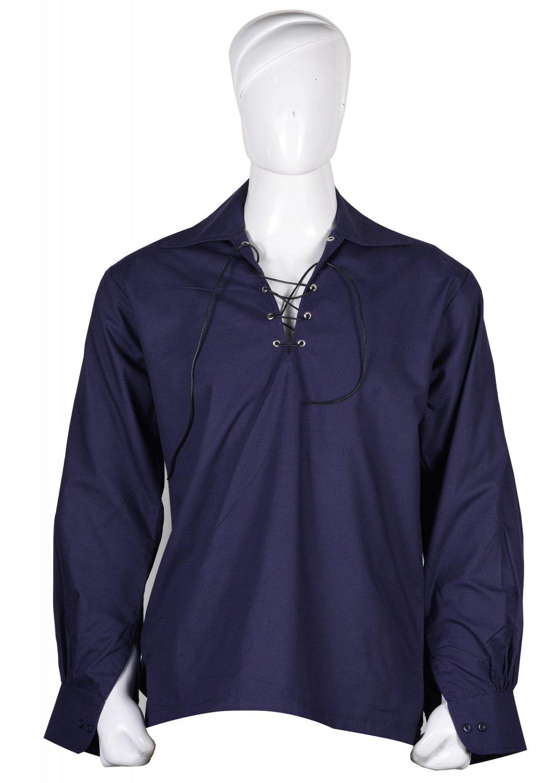 Navy Blue Hand Made 100% Cotton Traditional Scottish Style Jacobean Jacobite Ghillie Kilt Shirt