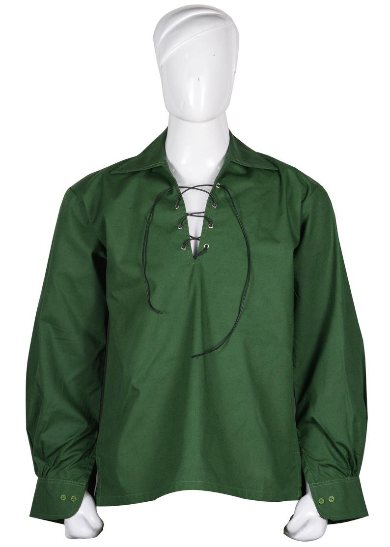 Green M Size Hand Made 100% Cotton Traditional Scottish Style Jacobean Jacobite Ghillie Kilt Shirt
