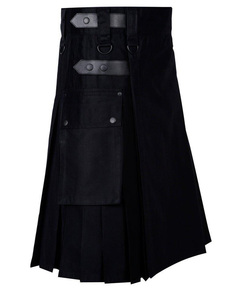 42 Inches Waist Men's Handmade Cotton Utility Cargo Pockets Kilt -  Black Color