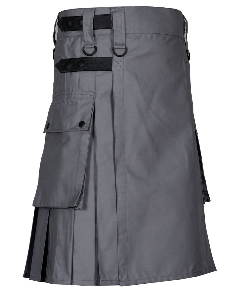 34 Inches Waist Men's Handmade Cotton Utility Cargo Pockets Kilt -  Grey Color