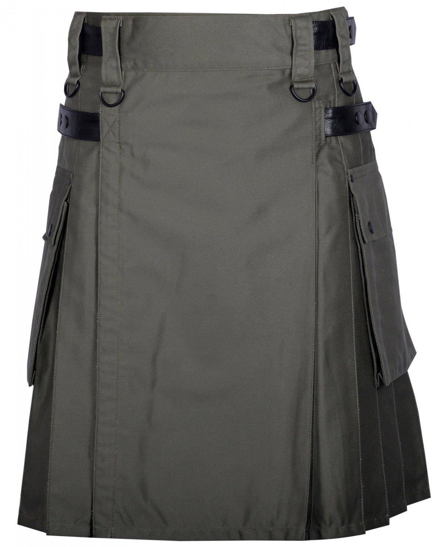 30 Inches Waist Men's Handmade Cotton Utility Cargo Pockets Kilt -  Olive Green Color