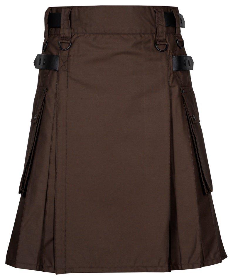 46 Inches Waist Men's Handmade Cotton Utility Cargo Pockets Kilt - Brown Color