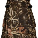30 Inches Waist Men's Handmade Cotton Utility Cargo Pockets Kilt - Jungle Camo Color