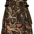 60 Inches Waist Men's Handmade Cotton Utility Cargo Pockets Kilt - Jungle Camo Color