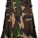 50 Inches Waist Men's Handmade Cotton Utility Cargo Pockets Kilt - Army Camo Color