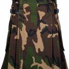 56 Inches Waist Men's Handmade Cotton Utility Cargo Pockets Kilt - Army Camo Color