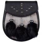 Grey and Black Rabbit Fur Semi Dress Scottish KILT SPORRAN and BELT