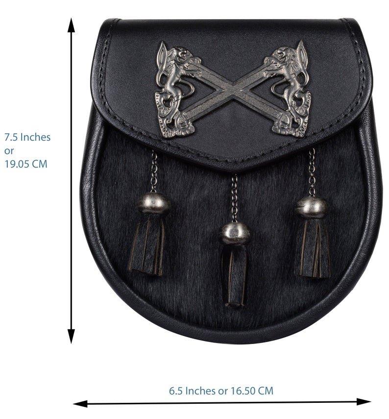 Semi Dress Black Leather Sporran with Scottish Rampant Lion Badge on Flap
