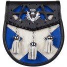 New Handmade Scottish Semi Dress Leather SPORRAN - Scottish Flag Pattern