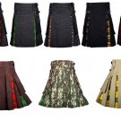 34 Inches Waist Men's Custom Made Scottish Utility Hybrid Cotton Kilt with Cargo Pockets