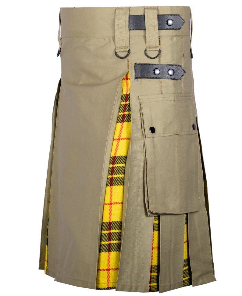 54 Inches Waist Men's Custom Made Scottish Utility Hybrid Cotton Kilt with Cargo Pockets