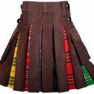 40 Inches Waist Men's Custom Made Scottish Utility Hybrid Cotton Kilt with Cargo Pockets
