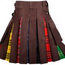 52 Inches Waist Men's Custom Made Scottish Utility Hybrid Cotton Kilt with Cargo Pockets