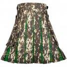 38 Inches Waist Men's Custom Made Scottish Utility Hybrid Cotton Kilt with Cargo Pockets