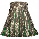58 Inches Waist Men's Custom Made Scottish Utility Hybrid Cotton Kilt with Cargo Pockets