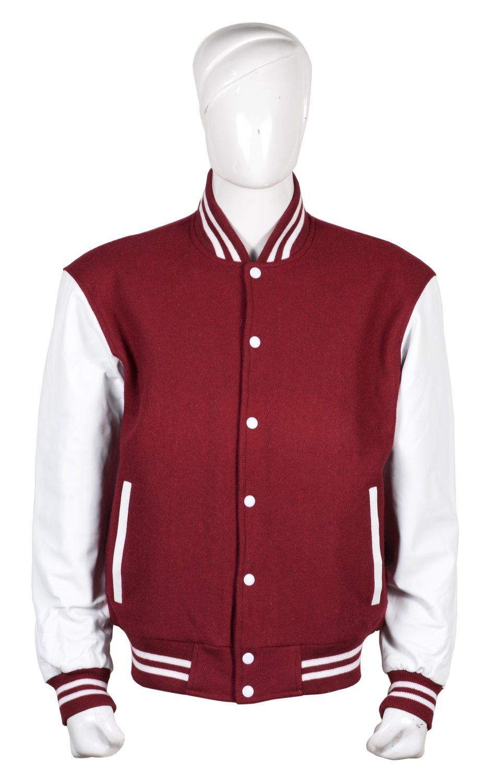 S size Letterman/Baseball/Club/High School/Custom Made Varsity Jacket Maroon-White