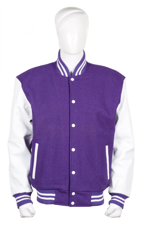 L size Letterman/Baseball/Club/High School/Custom Made Varsity Jacket Purple-White