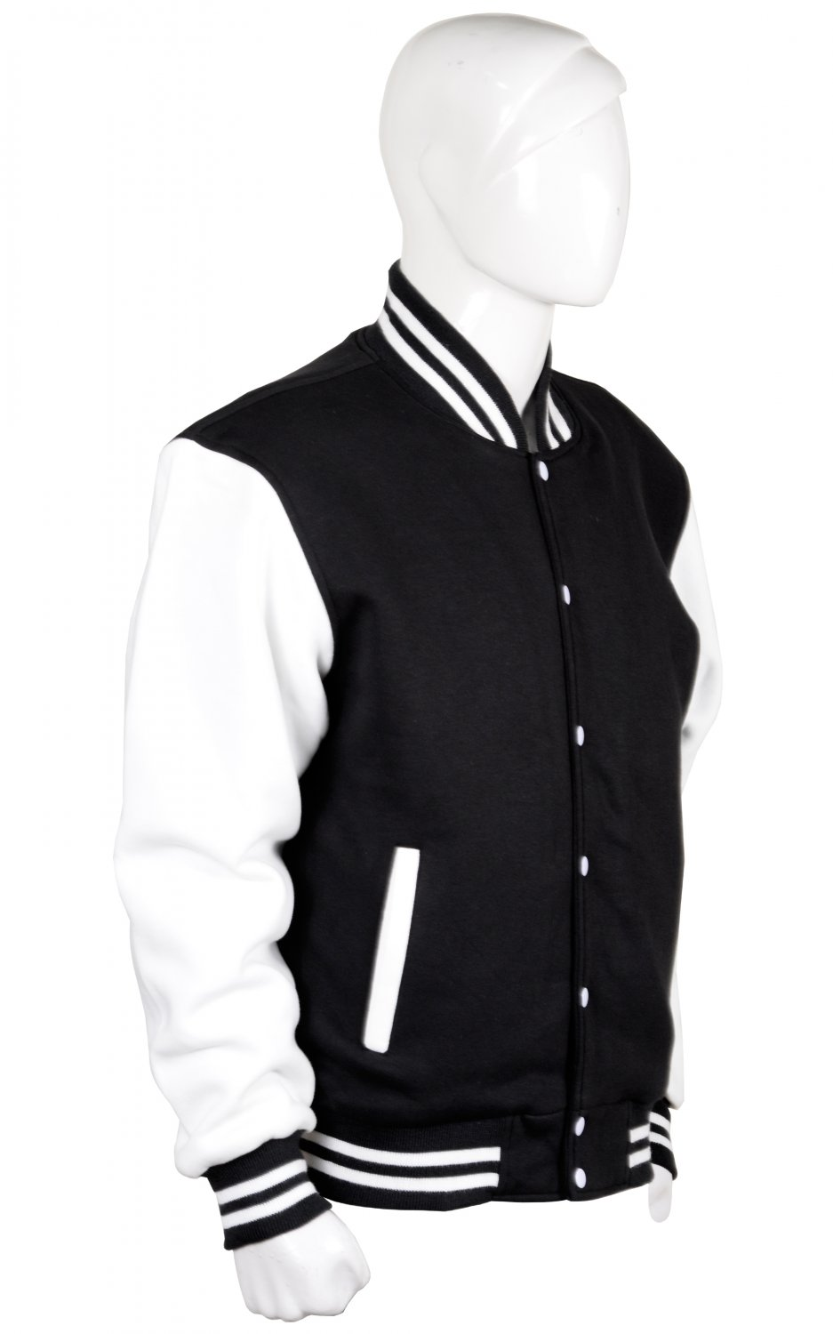 2XL size Letterman/Baseball/Club/High School/Custom Made Varsity Jacket Royal Black-White