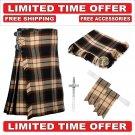 56 size Ancient Rose Scottish 8 Yard Tartan Kilt Package Kilt-Flyplaid-Flashes-Kilt Pin-Brooch