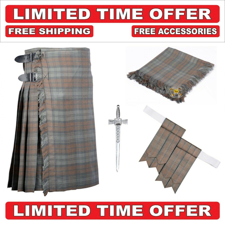 54 size Black Watch Weathered 8 Yard Tartan Kilt Package Kilt-Flyplaid-Flashes-Kilt Pin-Brooch