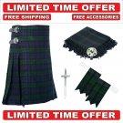 58 size Black Watch Scottish 8 Yard Tartan Kilt Package Kilt-Flyplaid-Flashes-Kilt Pin-Brooch