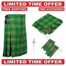 34 size Irish Scottish 8 Yard Tartan Kilt Package Kilt-Flyplaid-Flashes-Kilt Pin-Brooch