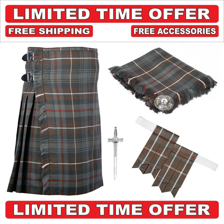 34 size Mackenzie Weathered 8 Yard Tartan Kilt Package Kilt-Flyplaid-Flashes-Kilt Pin-Brooch