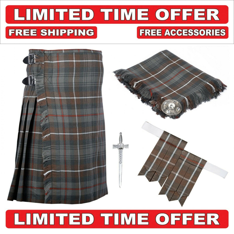 36 size Mackenzie Weathered 8 Yard Tartan Kilt Package Kilt-Flyplaid-Flashes-Kilt Pin-Brooch