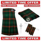 34 size Rose Hunting Scottish 8 Yard Tartan Kilt Package Kilt-Flyplaid-Flashes-Kilt Pin-Brooch