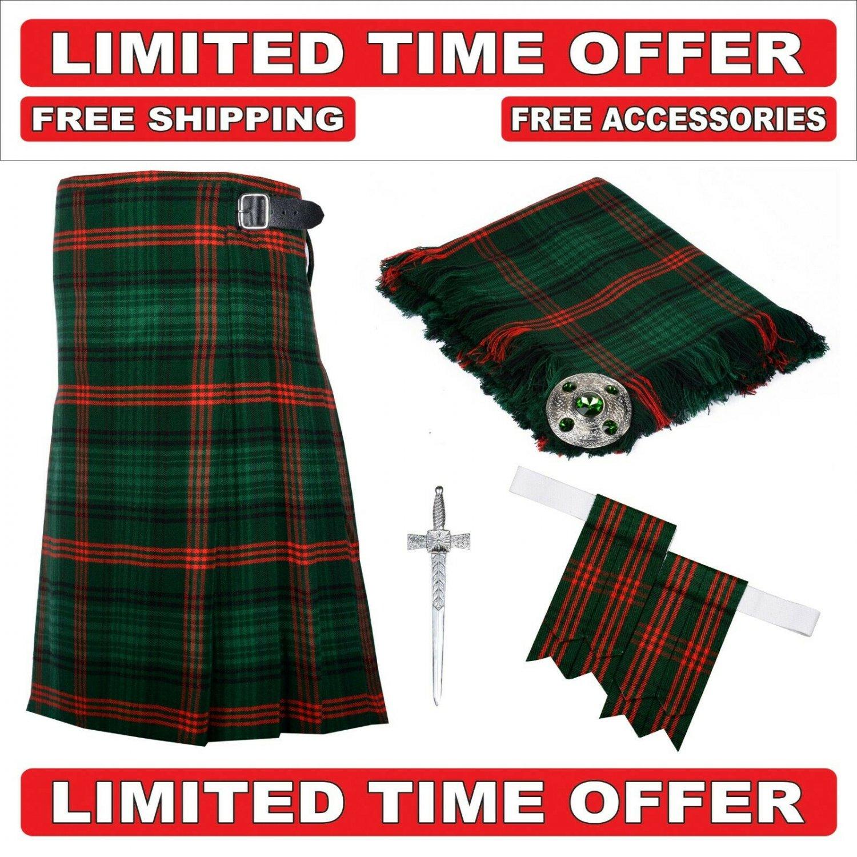 40 size Rose Hunting Scottish 8 Yard Tartan Kilt Package Kilt-Flyplaid-Flashes-Kilt Pin-Brooch