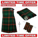 60 size Rose Hunting Scottish 8 Yard Tartan Kilt Package Kilt-Flyplaid-Flashes-Kilt Pin-Brooch